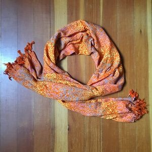 Accessories - Orange Patterned Fringed Rayon Scarf / Wrap HUGE